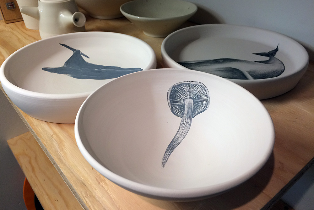 Mushroom and whale: underglaze on bisque