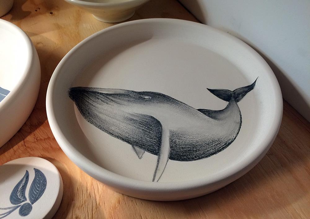 Whale: underglaze pencil on bisque
