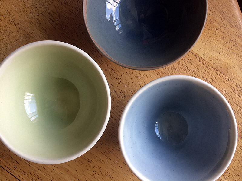 Colored glaze bowls, teal and avocado, by La Datcha